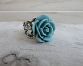 Antique Silver Tone Filigree Ring with Beautiful Detailed Seafoam Rose Vintage Inspired Romantic Wedding Shabby Chic,   B