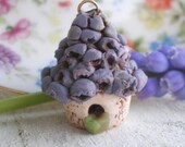 Grape Hyacinth Birdhouse- polymer clay charm, realistic purple spring flower bead, rustic whimsy jewelry pendant. Jettabugjewelry