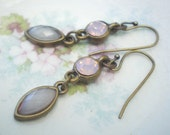 Strawberries and Cream dangle earrings- delicate creamy pink. light soft pink. brass charms. brass earwires. boho girl glam. Jettabugjewelry