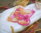 Pink Lemonade Picasso- variegated large crochet flower. dark pink. lemonade. pink. applique. mixed media. jewelry finding. Jettabugjewelry