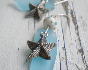Going to the Beach earrings- blue beach glass. dot lampwork. starfish charm. sterling silver beach jewelry. Jettabugjewelry