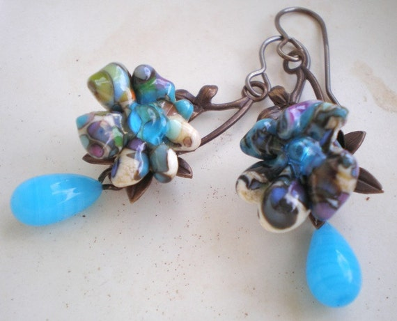 Caribbean Blues earrings- featured in Bead Trends August. turquoise blue vintage glass. tropical flower headpin. beach. Jettabugjewelry