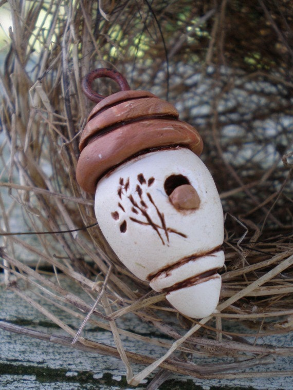 Sweet and Simple birdhouse- polymer clay charm. cream. brown roof.  wheat detail. patina copper loop. rustic whimsy pendant. Jettabugjewelry