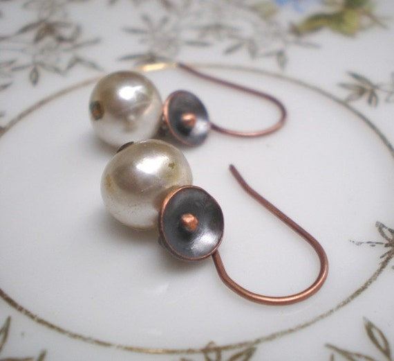 Dew Drop earrings- delicate vintage pearl dangles, tiny handcrafted copper poppies, ivory, floral minimalist. Jettabugjewelry