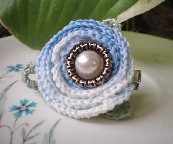Blue Danube- blue variegated crochet rose, glass pearl. antique silver filigree. hair fascinator. brooch. pin. Jettabugjewelry