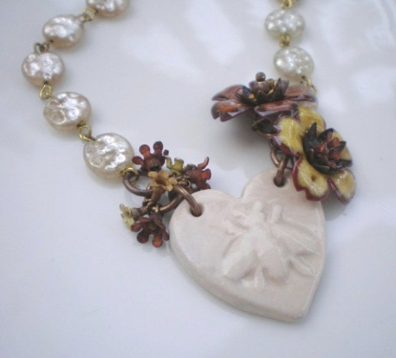 Gathering Nectur necklace- ceramic bee pendant. cream. honey. amber. enamel flowers. vintage pearl chain. Jettabugjewelry