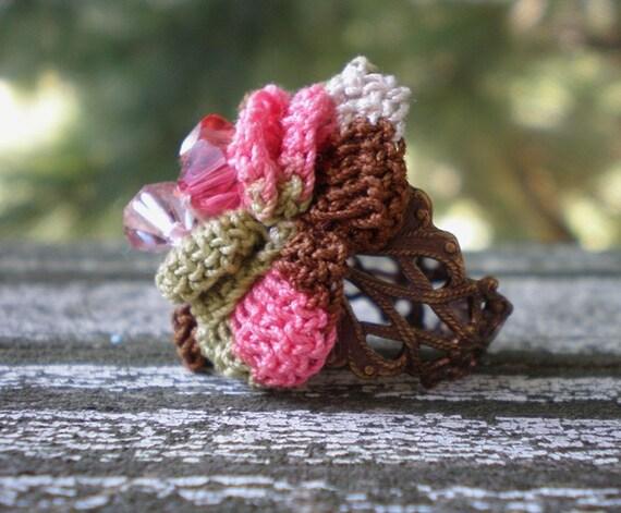 Chocolate Covered Raspberries ring- beaded crochet flower, variegated chocolate. strawberry. Swavroski crystals. brass. Jettabugjewelry