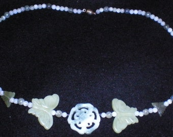 Flower and butterfly New jade and Serpentine necklace