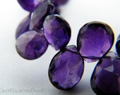 Amethyst Gemstone Briolette. Purple Amethyst Faceted Pear Briolette. Semi Precious Gemstone Briolette. 8-10mm. 10 Bead Strand