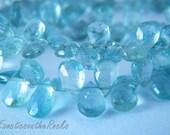 Aquamarine Gemstone Briolette. Faceted Pear Briolette Gemstone. Semi Precious Gemstone Briolette. 5-7mm. 6 Bead Strand