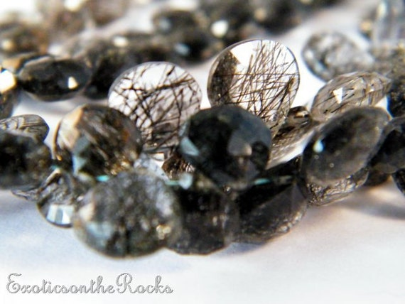 Black Rutilated Quartz Faceted Heart Briolettes.Black Quartz Semi Precious Gemstone Briolette.5-7mm Faceted Heart Beads.6 Bead Strand