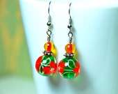 Red and Green Floral Beaded Dangle Earrings