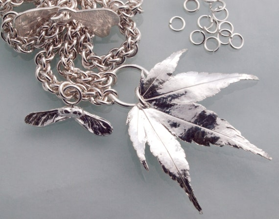 Silver acer leaf and seed choker