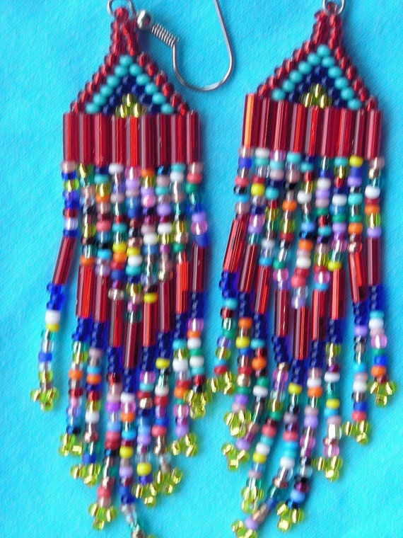 Red & Bright colors Southwest style beaded earrings