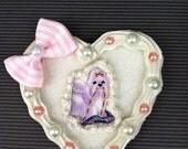 Lisa Frank white Puppy icing cookie Lolita Kawaii Decoden Fairy Kei two way hair clip pin