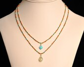 Colorful Bohemian Hand-Knotted Long Necklace with Turquoise and Coral
