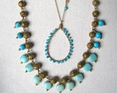 Aqua and Mint Boho Necklace
