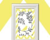 Unframed Yellow Bird foliage Inspired Art Print (Series A) - 8x11 Print - Yellow Grey UnFramed.