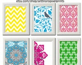 Vintage / Modern inspired Art Prints Collection (Series A) -Set of 6 - 8 x 11 Prints - Featured Multi Colors (UNFRAMED)