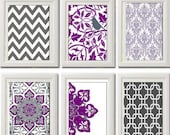 Vintage / Modern inspired Art Prints Collection (Series A) -Set of 6 - 8 x 11 Prints - Featured in Purple Grey White  (UNFRAMED)