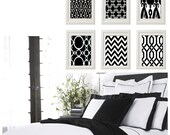 Black and White Wall Art Vintage / Modern Inspired -Set of 6 - 8x11 Prints -  (UNFRAMED)