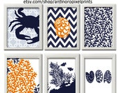 Beach House Digital Prints Navy Blue Orange White Wall Art Vintage / Modern Inspired -Set of 6 - 8x10 Prints -  (UNFRAMED)