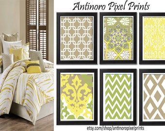 Light Yellow Green Khaki Wall Art Vintage / Modern Inspired -Set of 6 - 8x10 Prints -  (UNFRAMED)