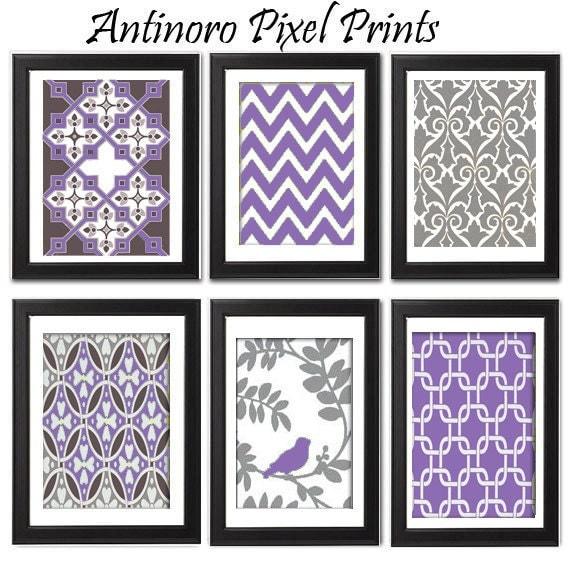 Spring Purple Bird / Grey  Vintage / Modern Inspired Digital Art Prints Collection -Set of 6 - 8x11 Prints  -  Purple / Grey  (UNFRAMED)
