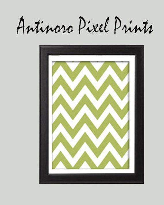 Unframed Vintage Modern inspired Green Chevron Print Art Print  (Series A) - 8x11-  UnFramed.