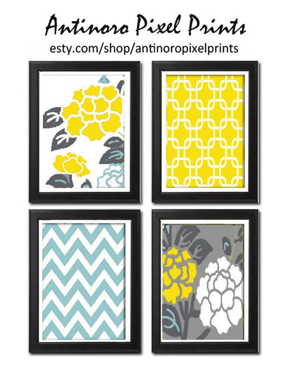 Unframed Vintage Modern Flowers Art Print  - Set of Four 5x7 Print Featured in Blue Yellow Greys White