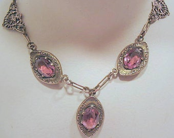 Victorian costume necklace gold tone with  amethyst or light purple colored glass stones