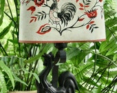 Vintage Black Iron Rooster  Electric Wall Lamp