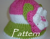 Knitting Pattern for Pink, White and Green Sun Hat with Flowers for Baby Girl