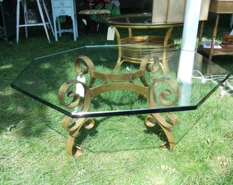 Lovely 1950 Gilt Base, Octagon Glass Table