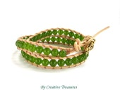 Leather 2x Wrap Bracelet with Green Jade