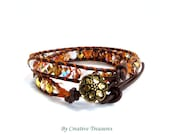 Beaded Leather 2x Wrap Bracelet with Fire Polish Crystals.