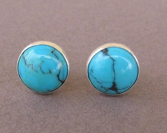 Stud earrings,Turquoise post earrings,silver sterling,8mm.Natural turquoise stone