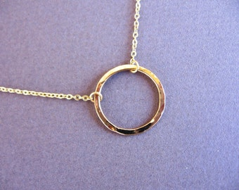 Hammered gold hoop pendant  necklace.circle necklace