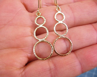 Dangle Hoop earrings ,Brushed yellow gold 3 hoops earrings