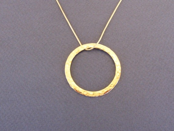 Gold hoop necklace, Hammered  large hoop ,gold hoop pendant