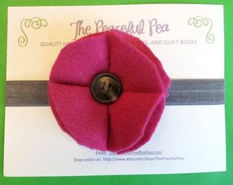 Headband - Magenta Flower with Gray Band