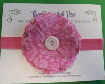 Headband - Pink Fabric Flower