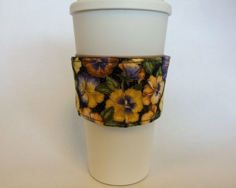 Insulated Cup Sleeve-Fabric Coffee Cup Sleeve - Reusable Beverage Cozy -Reversible.