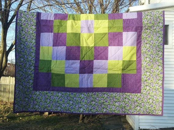 Quilt - Orchid Border with Purple and Green Patchwork