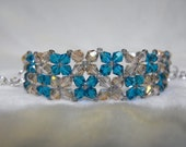 Right Angle Weave Beaded Bracelet, Champagne, and Teal Crystal with Transparent Gray Seed Bead Accents