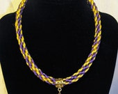 Kumihimo Braided Necklace with Glass Flower Charm