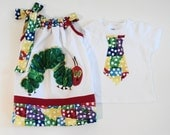 Custom Boutique Very Hungry Caterpillar Inspired Brother/ Sister set Sizes 0-6 mo, 6-12mo, 12-18mo, 18-24mo, 2t, 3t, 4t, 5/6, 7/8