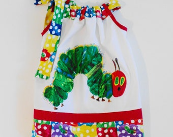 Custom Boutique Very Hungry Caterpillar Inspired Pillowcase dress Only  Sizes 0-6mo, 6-12mo, 12-18mo, 18-24mo, 2t, 3t, 4t, 5/6, 7/8