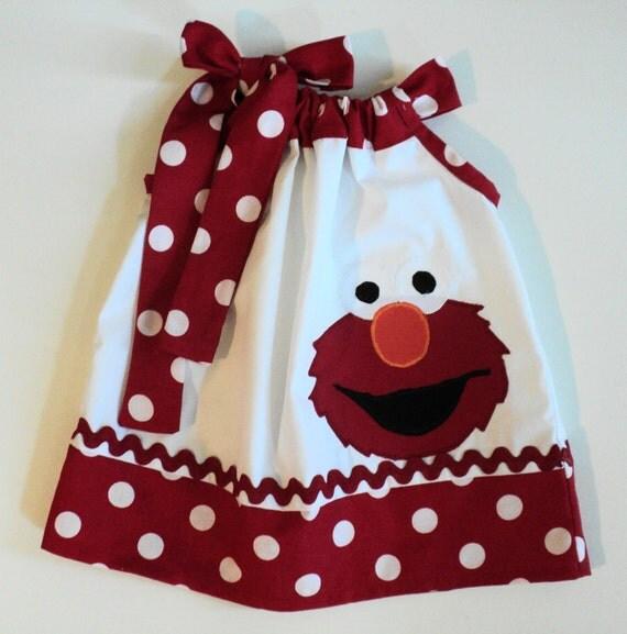 Custom Boutique Elmo Sesame Street Inspired Pillowcase dress size 0-3mo, 3-6mo, 6-12mo, 12-18mo,18-24mo, 2t.3t,.4t,5t