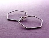 Hexagon Hoop earrings . Argentium silver . Medium 1.25 Inches . Simple Classy Modern